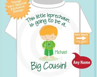 Big Cousin Shirt - Irish Leprechaun Big Cousin Shirt or Onesie Bodysuit, Personalized Big Cousin Outfit - Irish Big Cousin Shirt  01282015b