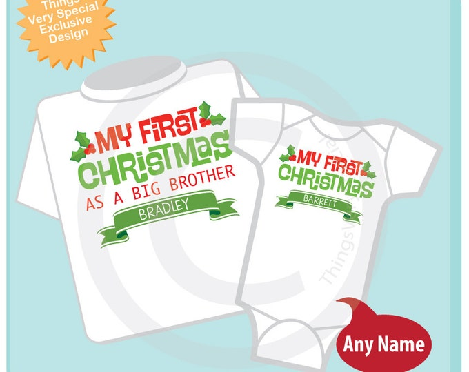 Christmas Big Brother Outfit set - Matching Personalized Sibling Set of 2 - Kids Matching Outfits - My First Christmas 11282016b