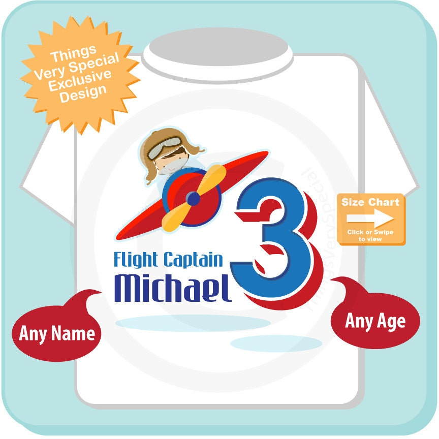 3 Year Old Plane Pilot Boys Personalized Airplane Birthday Shirt