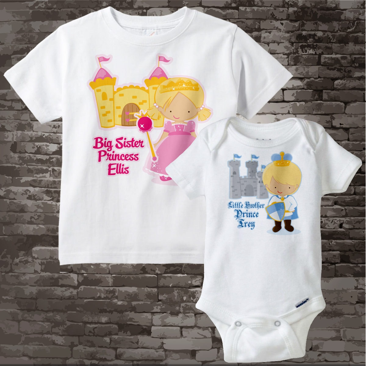 2f4d065b Set of Two Personalized Blonde Big Sister Princess Shirt, and Blonde Little  Brother Prince Onesie 01212013b. gallery photo ...