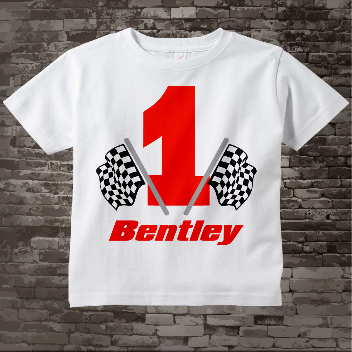 1 Year Old Birthday First Outfit Boy Checkered Flag Racer Shirt Personalized Racing Theme 05252012b Gallery Photo