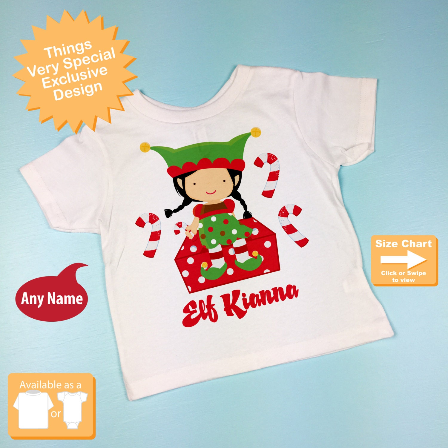 e43368d8e Girl's Christmas Shirt, Elf Shirt, Personalized Elf Tee Shirt or Onesie  11082013j. gallery photo ...
