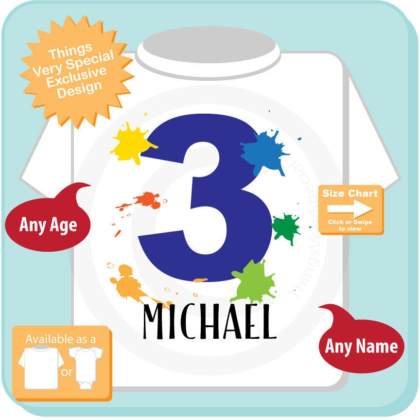 3rd Birthday Shirt Paint Themed Third Number 3 Personalized Boys T Three Year Old Kids Tee