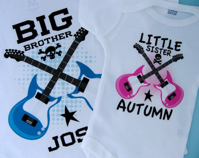 Set of Two Personalized Boys Big Brother and Girls Little Sister Guitar Rocker Shirt or Onesie, Infant, Toddler or Youth sizes 03192014b