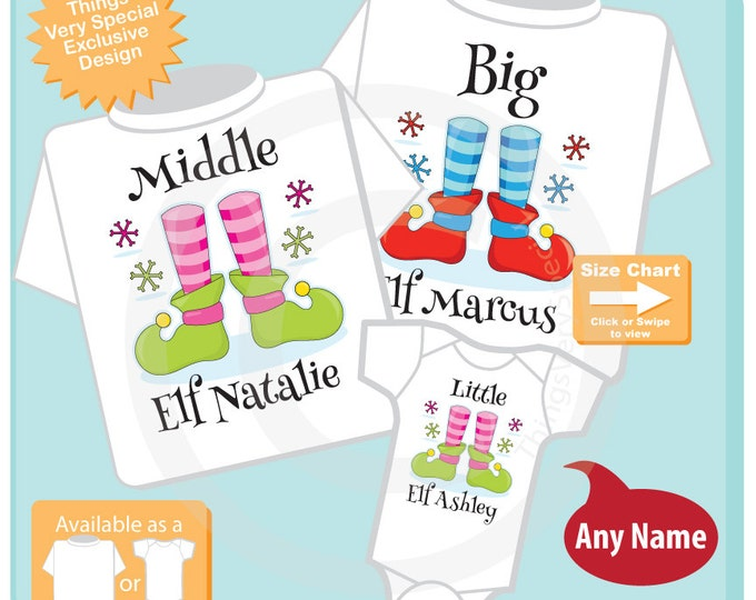 Set of Three - Kids Christmas Outfits for Big Brother Middle Sister and Little Sister - T-shirt or Onesie Price is for all three 11152016j