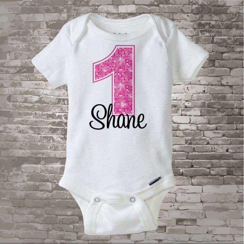 78398267 First Birthday Onesie Pink 1st Birthday Shirt Personalized | Etsy