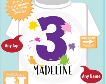 3rd Birthday Shirt, Paint Themed Third Birthday Shirt, Number 3, Personalized Girls Birthday T-shirt, Three Year Old Kids Tee (01052017f)