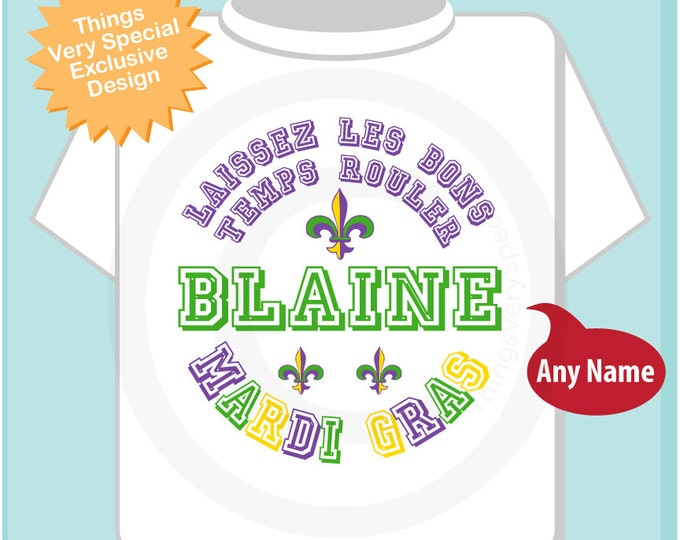 Mardi Gras Shirt, Personalized Mardi Gras Shirt or Onesie, Mardi Gras Shirt for Toddlers and Kids and Adults 02072014f