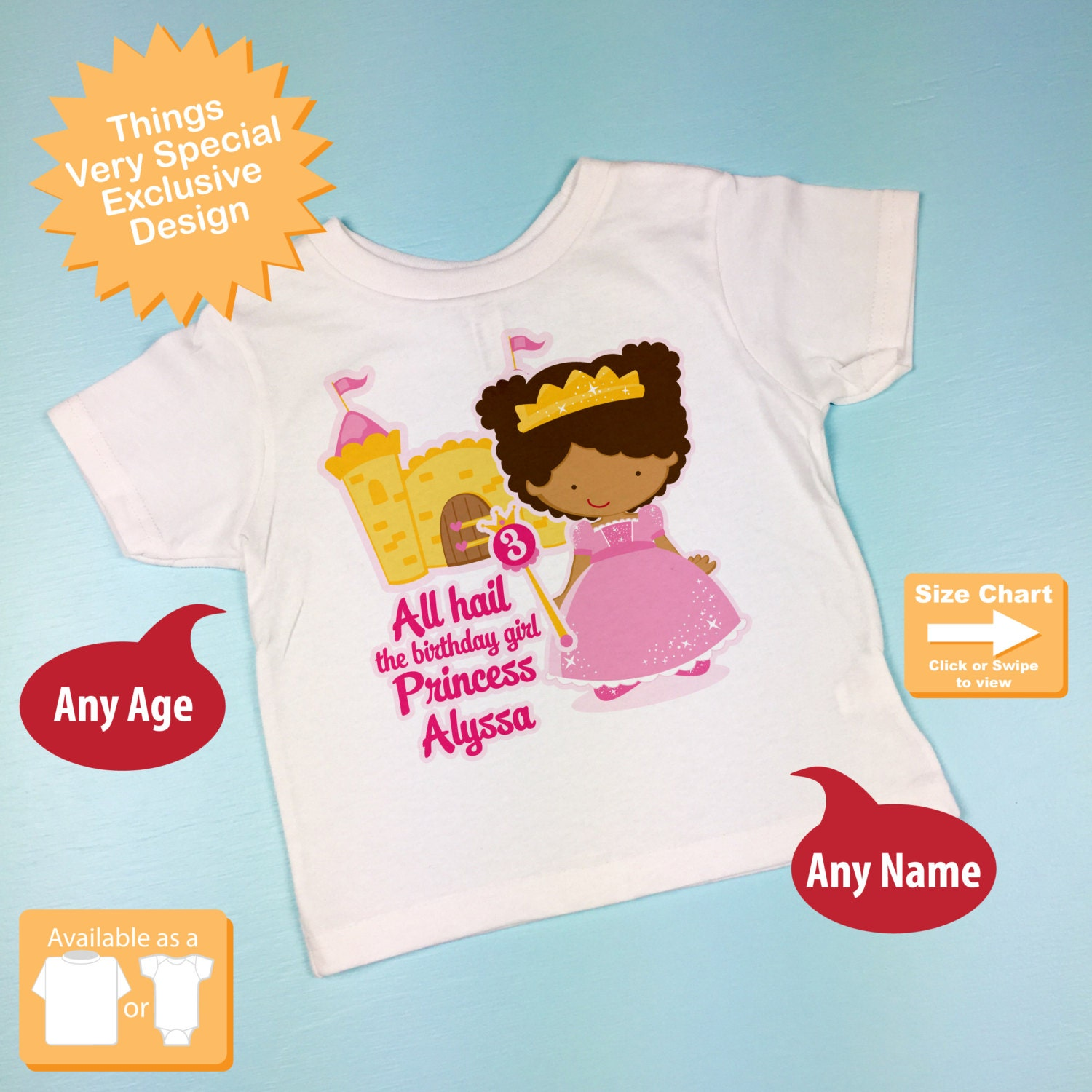 Third Birthday Shirt African American Princess Personalized 3rd Girl Tshirt