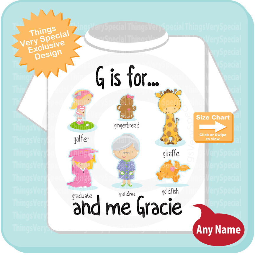 Girl's Personalized G is for Shirt or Onesie Personalized with