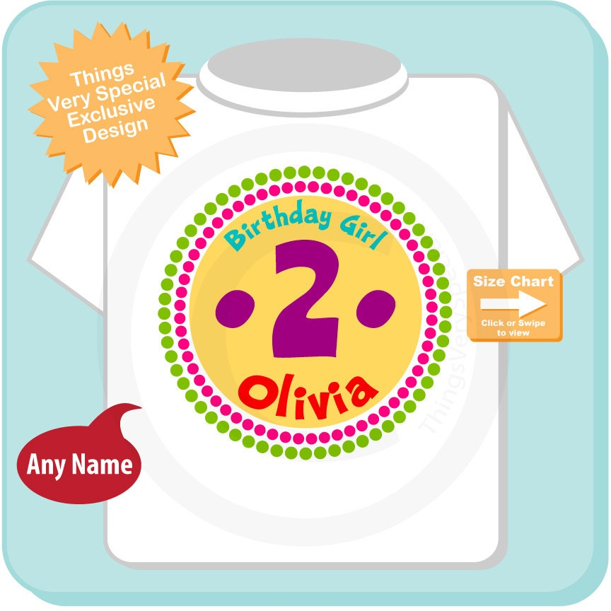 Second Birthday Shirt 2 Year Old Rainbow Personalized Girl Circle Tee Or Onesie 06192012d
