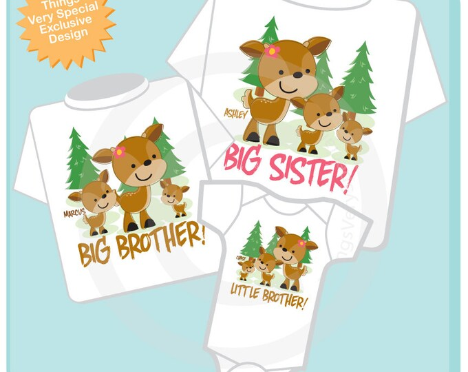 Set of Three Big Sister Shirt, Big Brother Shirt, and Little Brother Onesie Set Personalized Doe and Buck