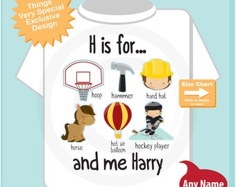 Boy's Personalized H is for Shirt or Onesie Personalized with childs name with everything that starts with H, alphabet learning 08302017b