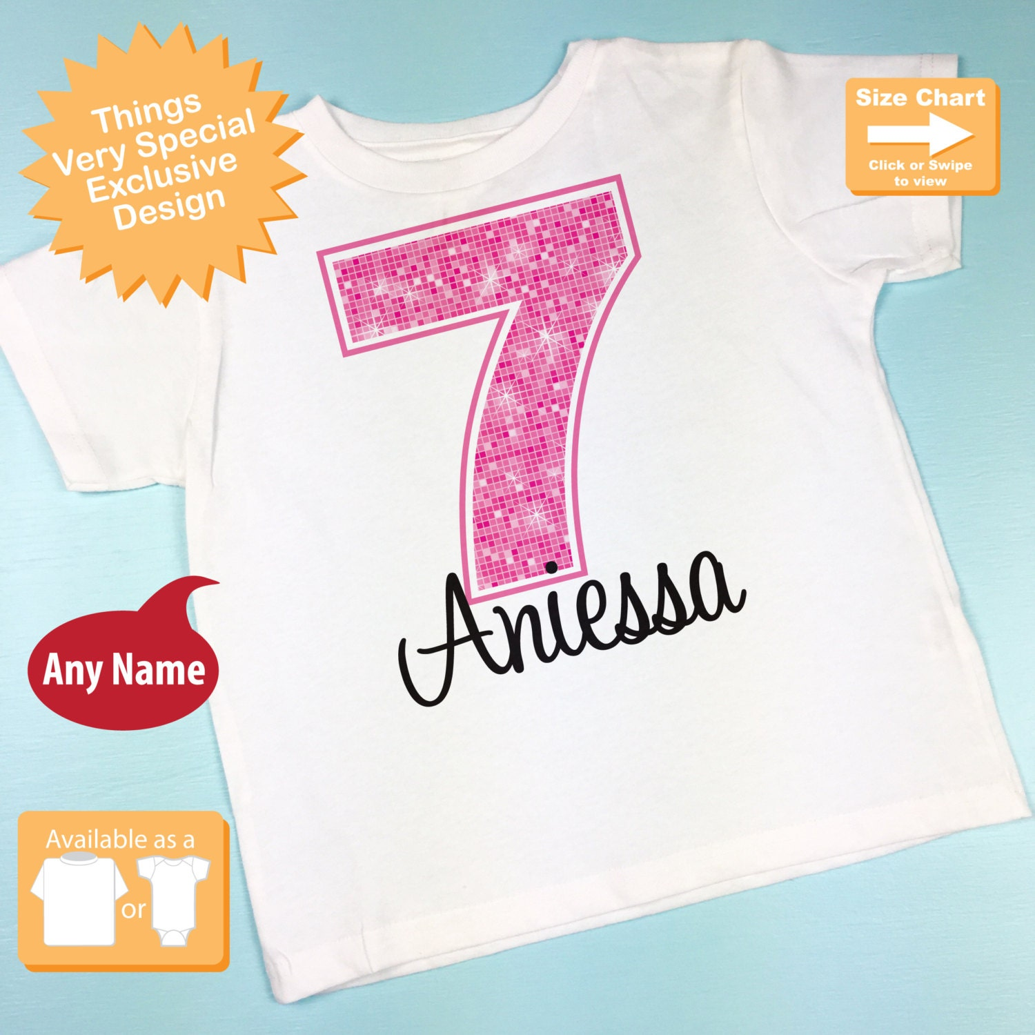 Seventh Birthday Shirt Pink 7 Any Age Personalized