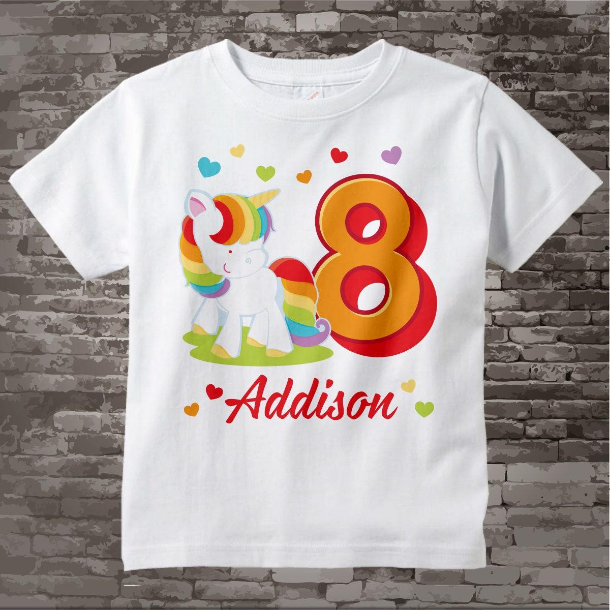 Personalized Girls Eighth Birthday Shirt Rainbow Unicorn Theme 03272017a Gallery Photo