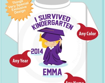 Personalized I Survived Kindergarten Shirt Kindergarten Graduate Shirt Child's Back To School Shirt or Onesie 04252014d