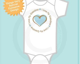 I Love My Grandma Oneise - First Grandchild Boy's Personalized I Love My Grandma with Blue Heart Tee Shirt or Onesie 05012012h
