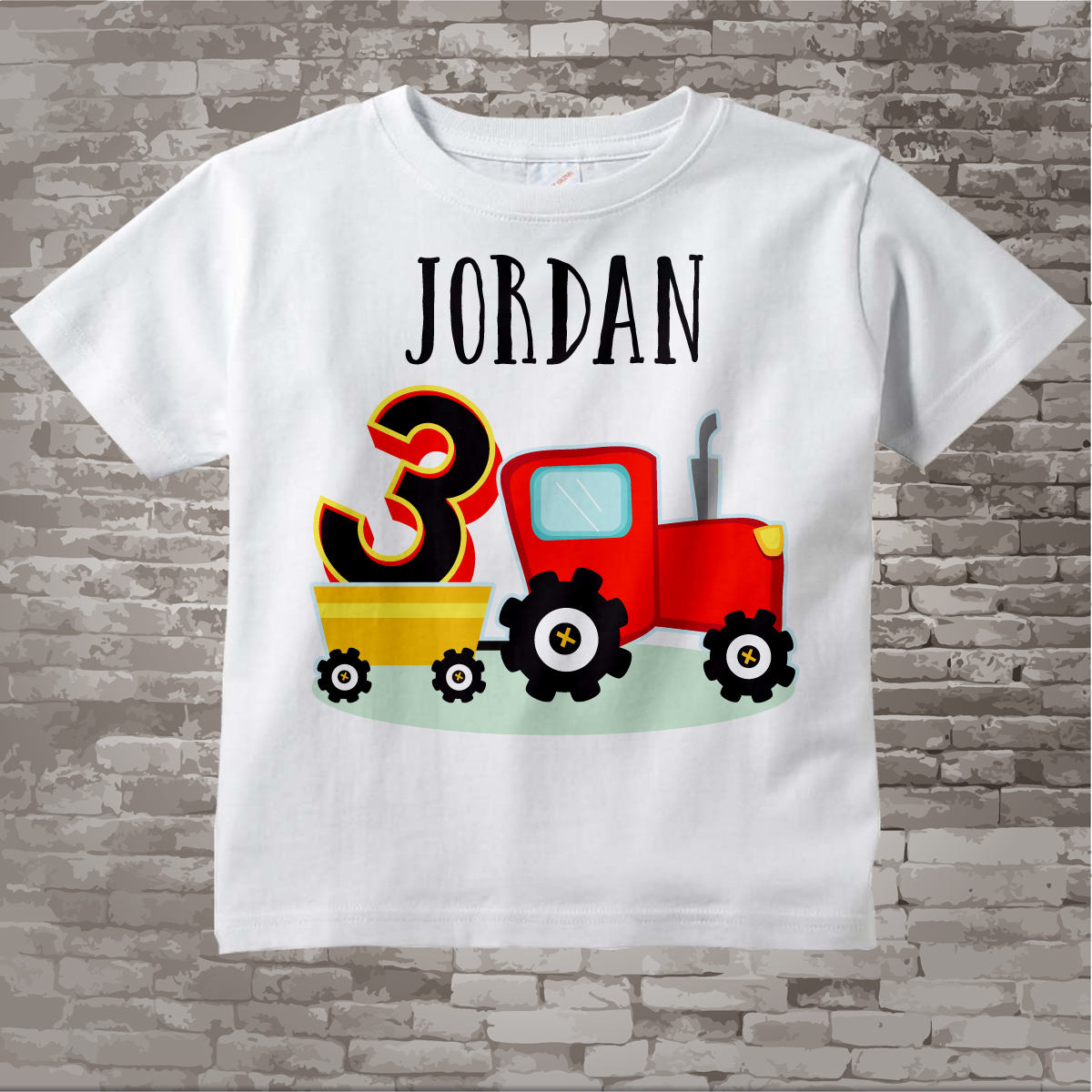 Third Birthday Red Farm Tractor Shirt Personalized 3 Year Old Farmer 3rd Childs Name And Age 09242015a