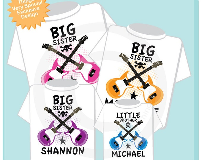 Set of Four Personalized Big Sister and Little Brother Guitar Rocker Shirt or Onesie, Infant, Toddler or Youth sizes t-shirt