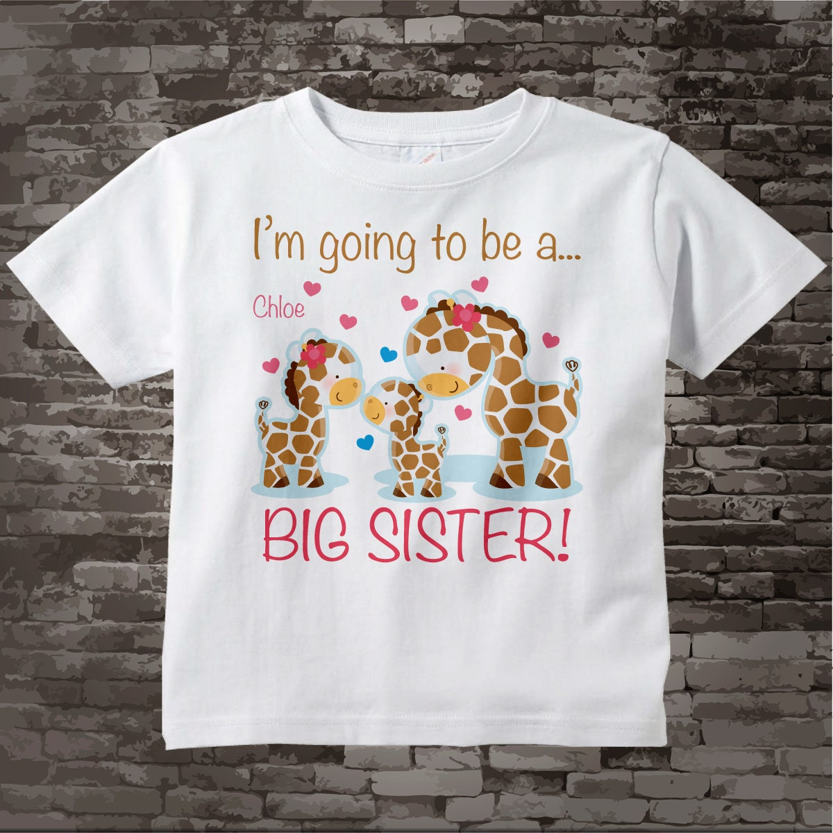 ... Personalized Big Sister Giraffe Shirt with three siblings older girl  baby boy 09032014b. gallery photo ... 5d62f89409d4d