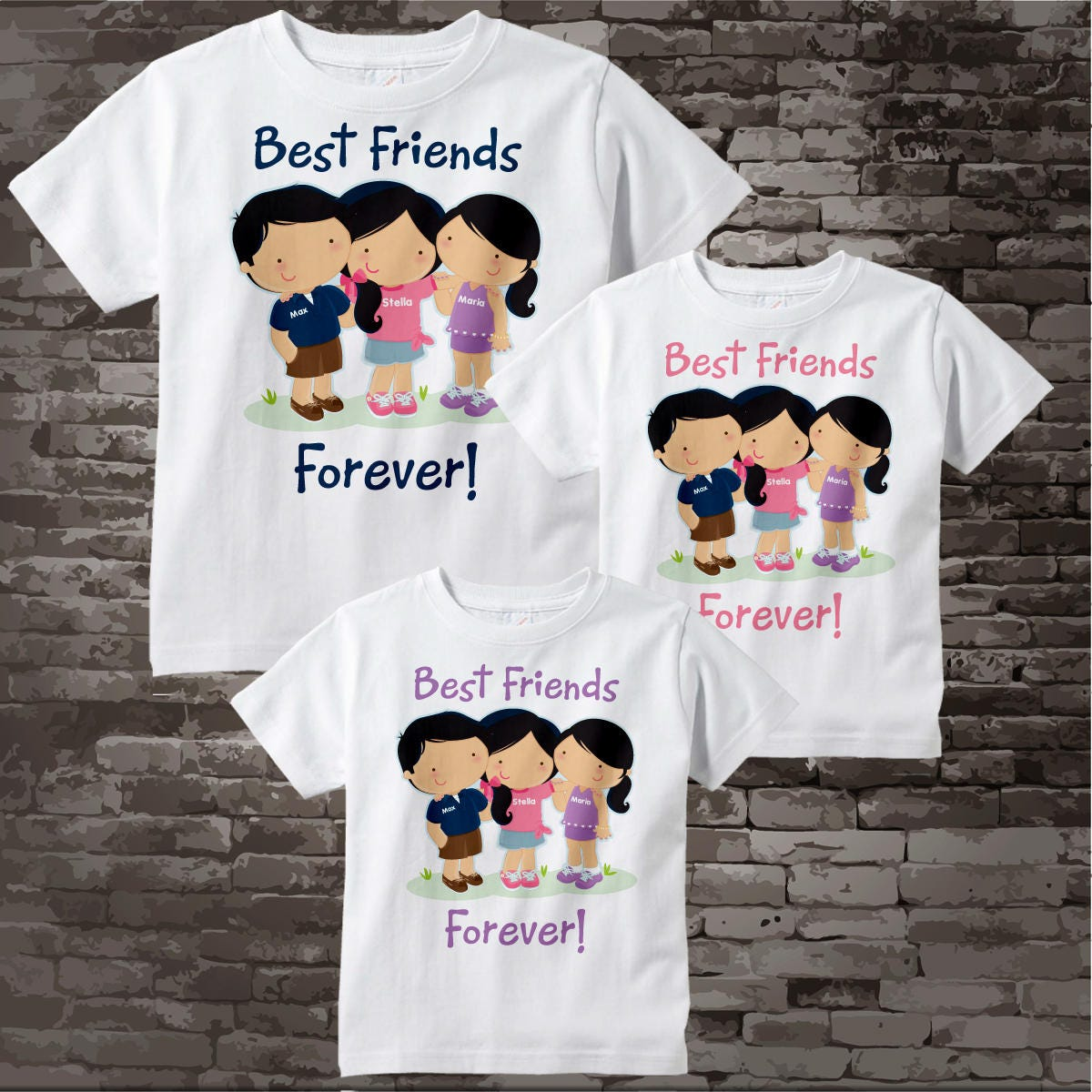 set of three best friends tee shirts or onesies three little etsy