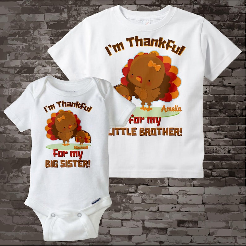 c4d6860f1 Big Sister Little Brother Outfits I'm Thankful Set of | Etsy