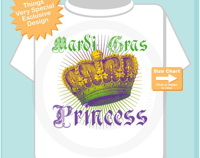 Mardi Gras Princess Shirt or Onesie Bodysuit, Mardi Gras Princess Shirt or Onesie, Princess Shirt for Toddlers and Kids (12182014e)