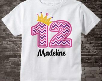 Twelfth Birthday Shirt, Pink Chevron 12 Birthday Shirt, Any Age Personalized Girls Birthday Shirt Pink Age and Name Tee kids 10172017a