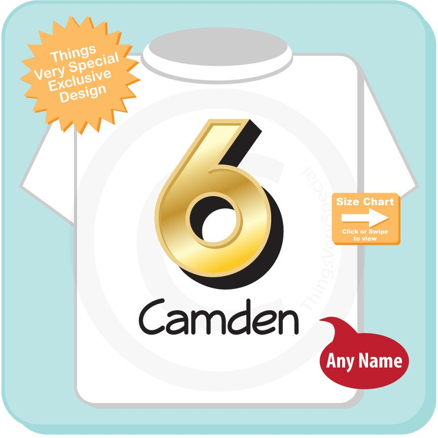 Sixth Birthday Shirt Golden 6 T Any Age Personalized Boys Gold Color And Name Tee 07272018a