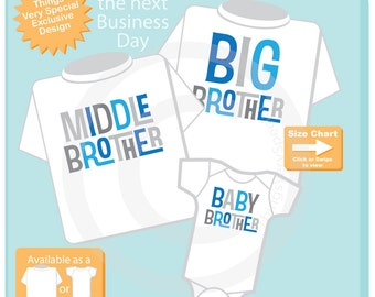 Set of Three,  Big Brother Shirt, Middle Brother Shirt and Baby Brother Onesie, Pregnancy Announcement (09282016a)