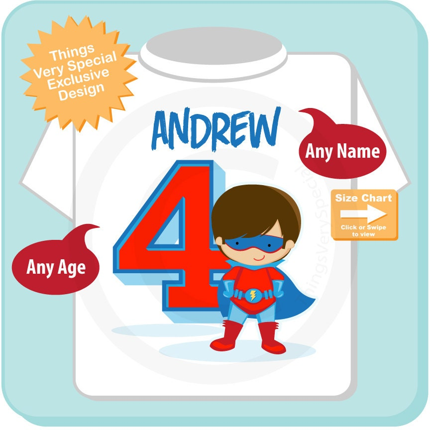 Boys Personalized Superhero 4th Birthday Tshirt