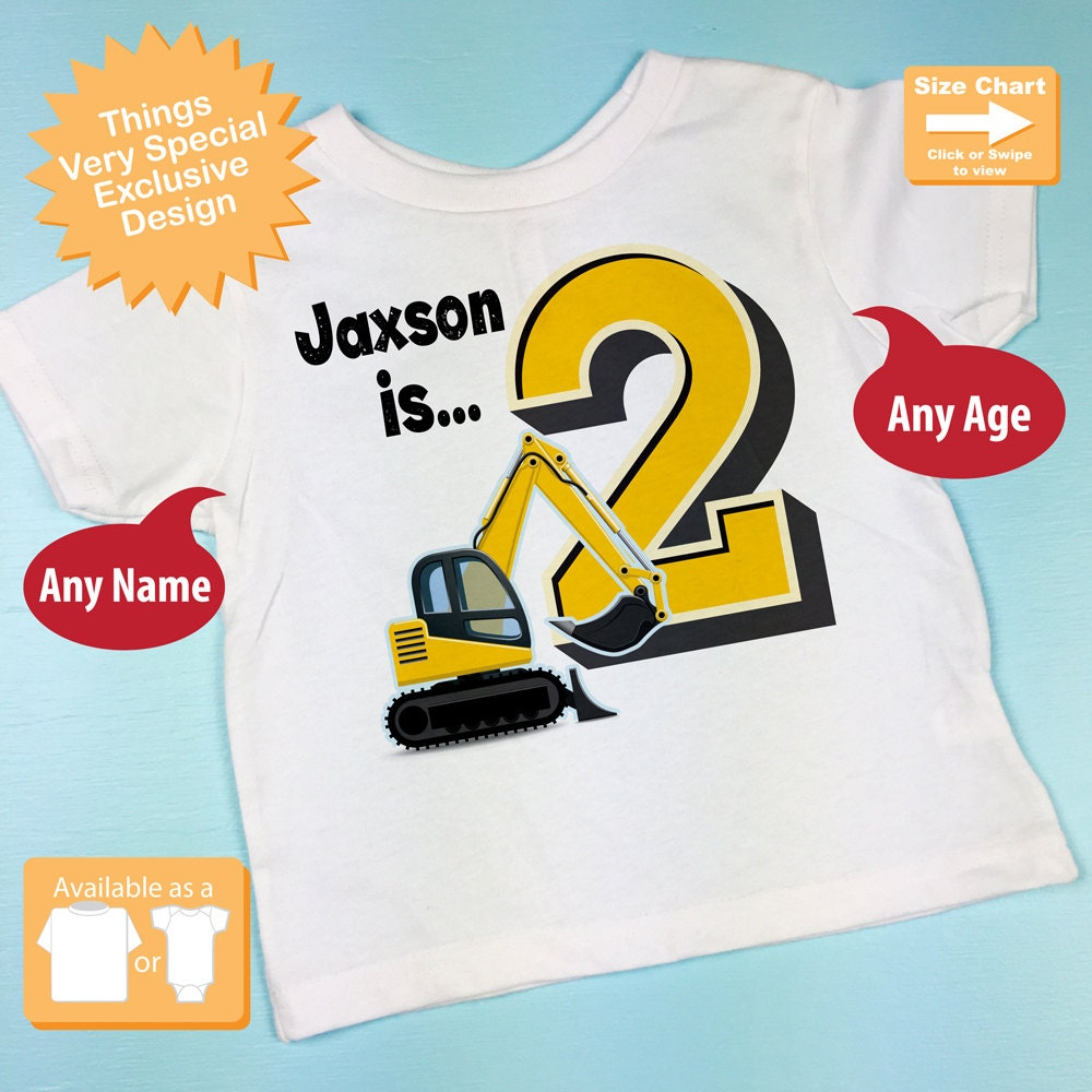 Second Birthday Shirt 2nd Outfit Personalized Boys Onesie Construction Theme Party 11052015c