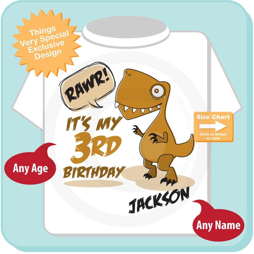 3 Year Old Birthday Shirt For Boy Dinosaur 3rd