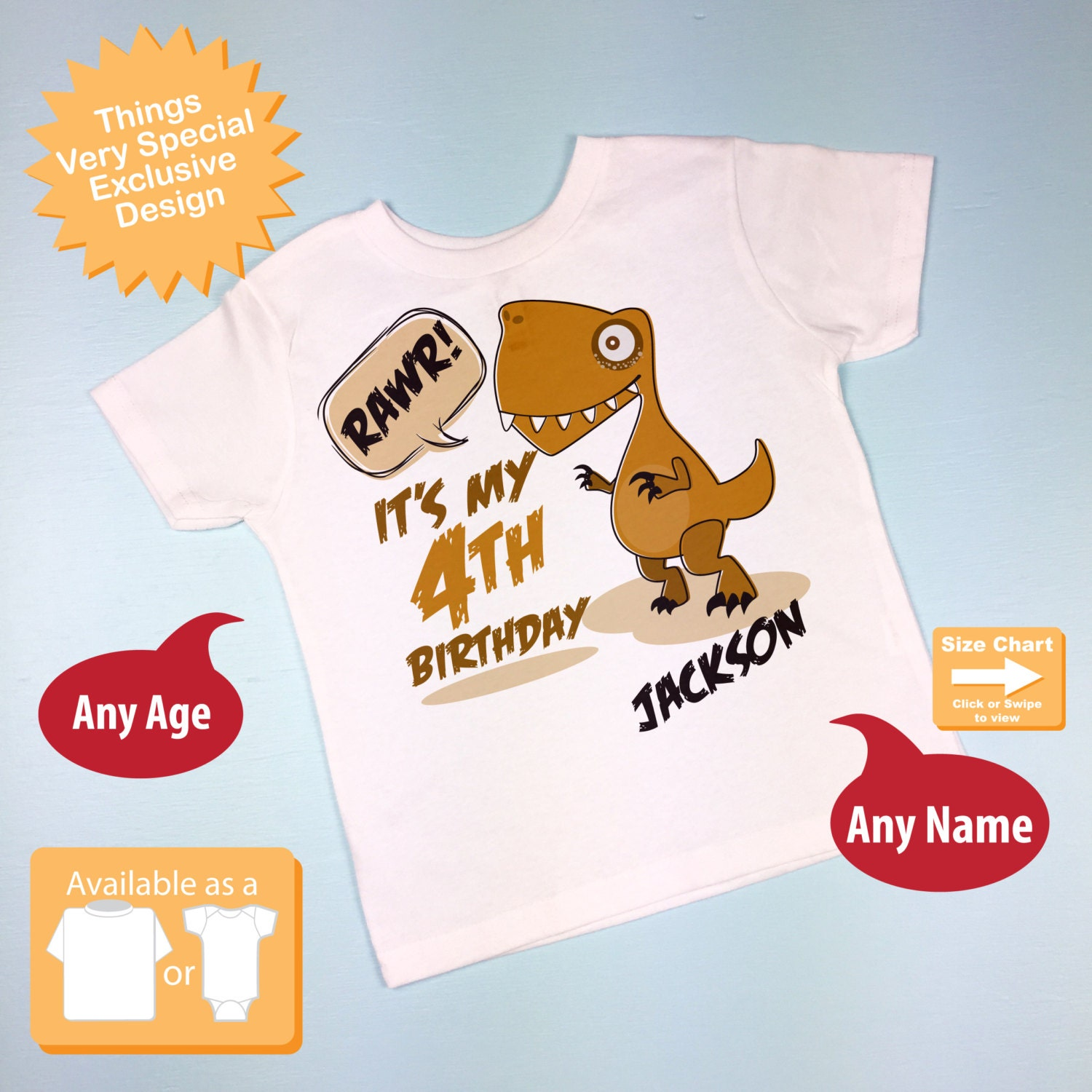 Dinosaur 4th Birthday Shirt Personalized Dino Fourth With Childs Name And Age 4 Year Old 08262016a