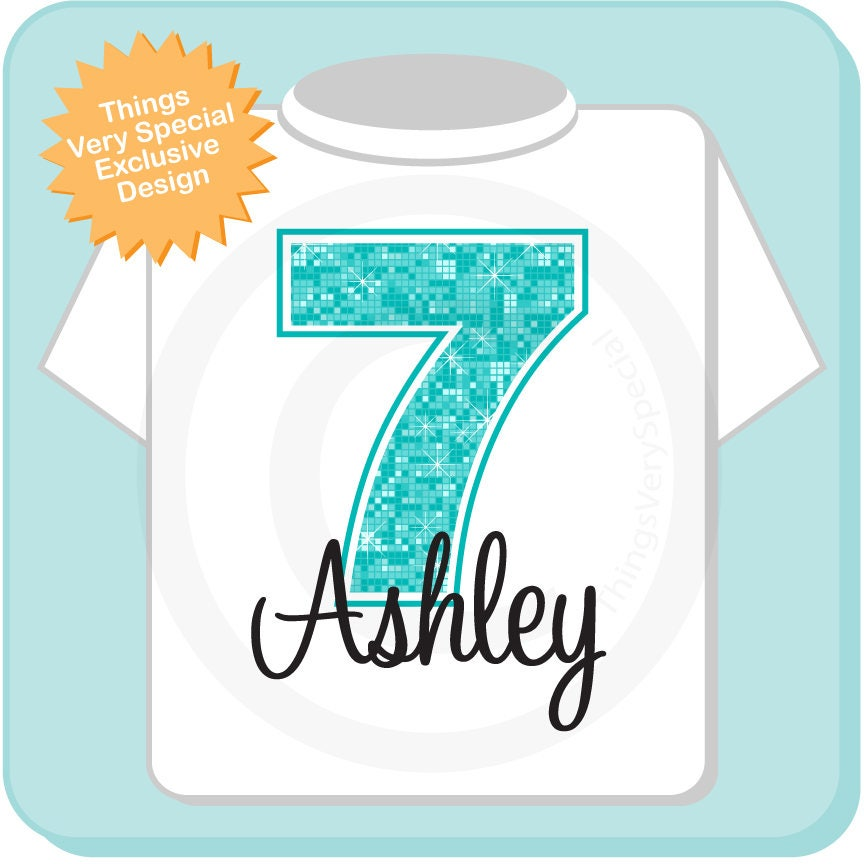 7th Birthday Shirt Turquoise Seventh Personalized Girls Gift Light Teal Age Name 11212017a