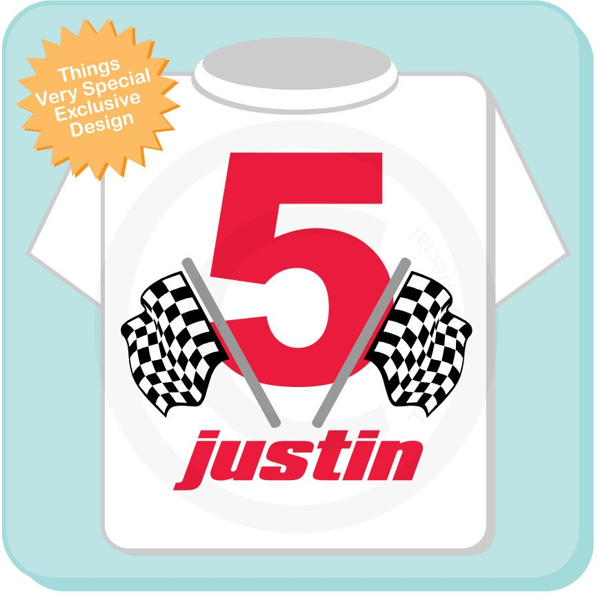 Racing Theme Birthday Shirt For 5 Year Old Boy