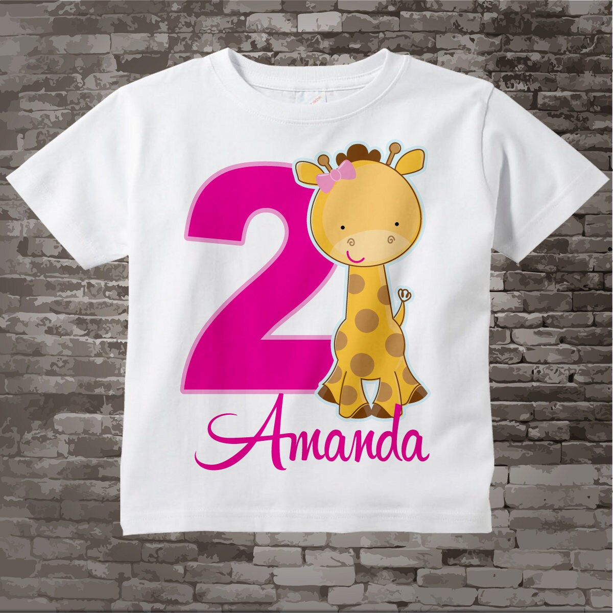 c865e5a9 Personalized Girl's Second Birthday Giraffe Tee Shirt or Onesie, 2nd  Birthday Giraffe tee, Safari Theme, Zoo t-shirt 07292014f. gallery photo ...