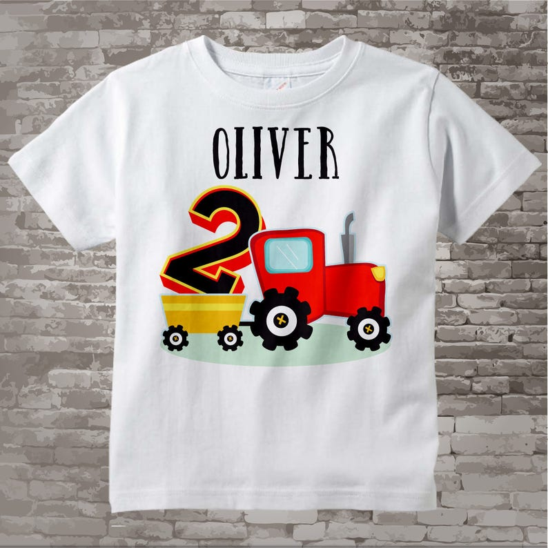 Second Birthday Red Farm Tractor Shirt Or Onesie Bodysuit 2