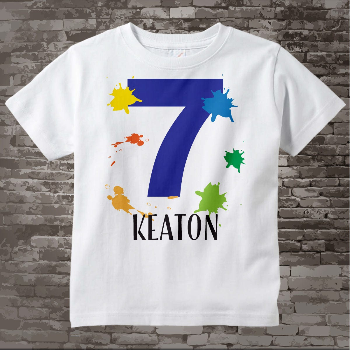 7th Birthday Shirt Paint Themed Seventh Number 7