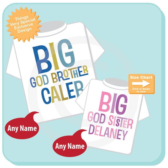 Personalized Big God Brother And Big God Sister Shirt Or Etsy