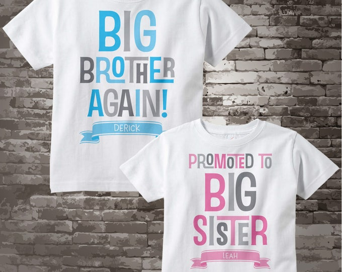 Shirt set of Two - Sibling Big Brother Again and Promoted to Big Sister Shirts - Pregnancy Announcement - Price is for both items 07072017a