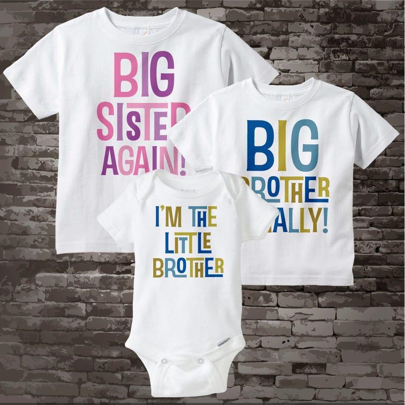 9f8b70a1c Set of Three Big Sister Again Big Brother Finally Shirt and | Etsy