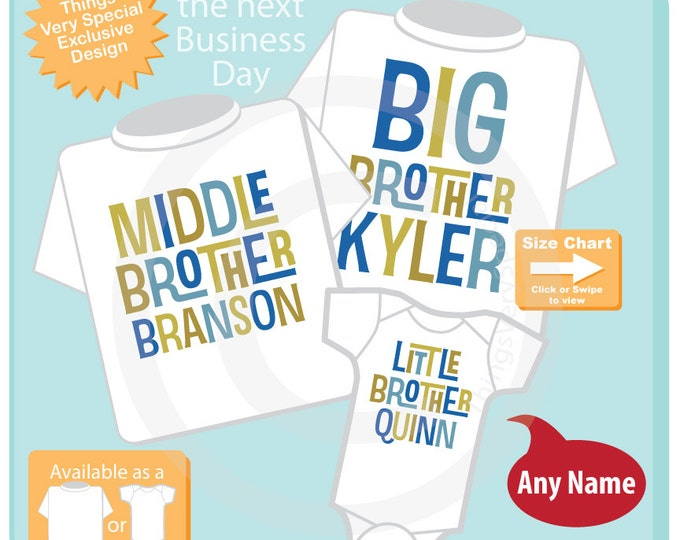 Boys Matching Set of Three, Personalized Big Brother Middle Brother and Little Brother Shirt or Onesie Pregnancy Announcement 01122016c