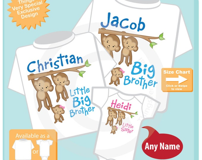 Sibling Monkey Shirt Set, Set of Three, Big Brother Shirt, Little Big Brother, Little Sister, Personalized Shirt or Onesie (08032015g)