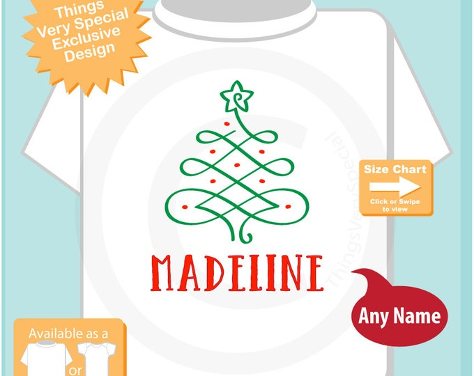Christmas Shirt, Fancy Christmas Tree Shirt, Personalized Christmas T-Shirt or Onesie (09012015b)