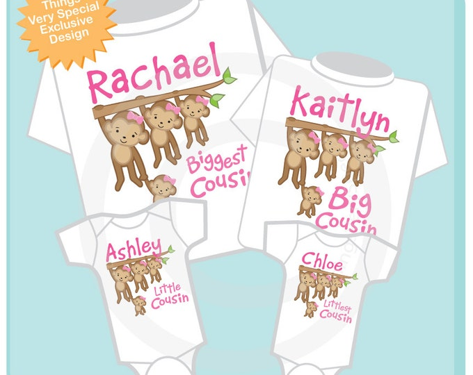 Set of Four Girl Biggest Cousin, Big Cousin, Little Cousin and Littlest Cousin Tee Shirts or Onesies with Monkeys 06042014d