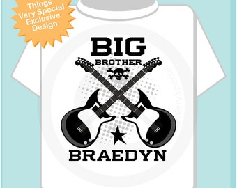 Big Brother Guitar Rocker Shirt or Onesie, Personalized Big Brother Shirt, Infant, Toddler or Youth sizes t-shirt (05152013a)