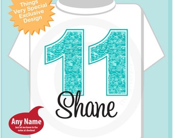 11th Birthday Shirt, Turquoise Eleventh Birthday Shirt, Personalized Girls Birthday Gift, Light Teal Age Name Turquoise Birthday 11202017e