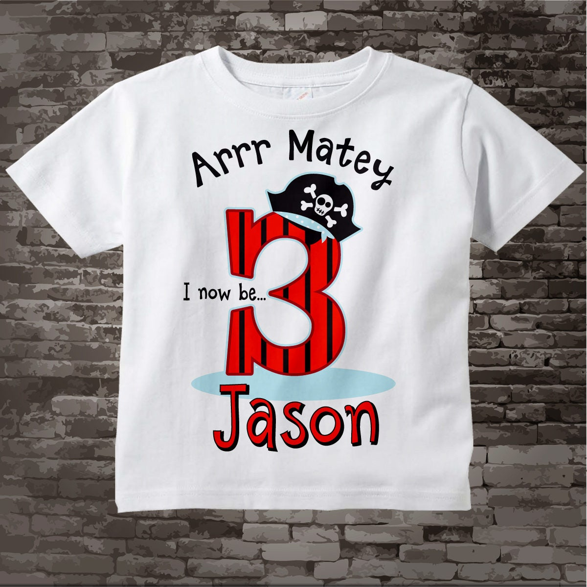 Pirate Birthday T Shirt Or Onesie Bodysuit For 3 Year Old Boy
