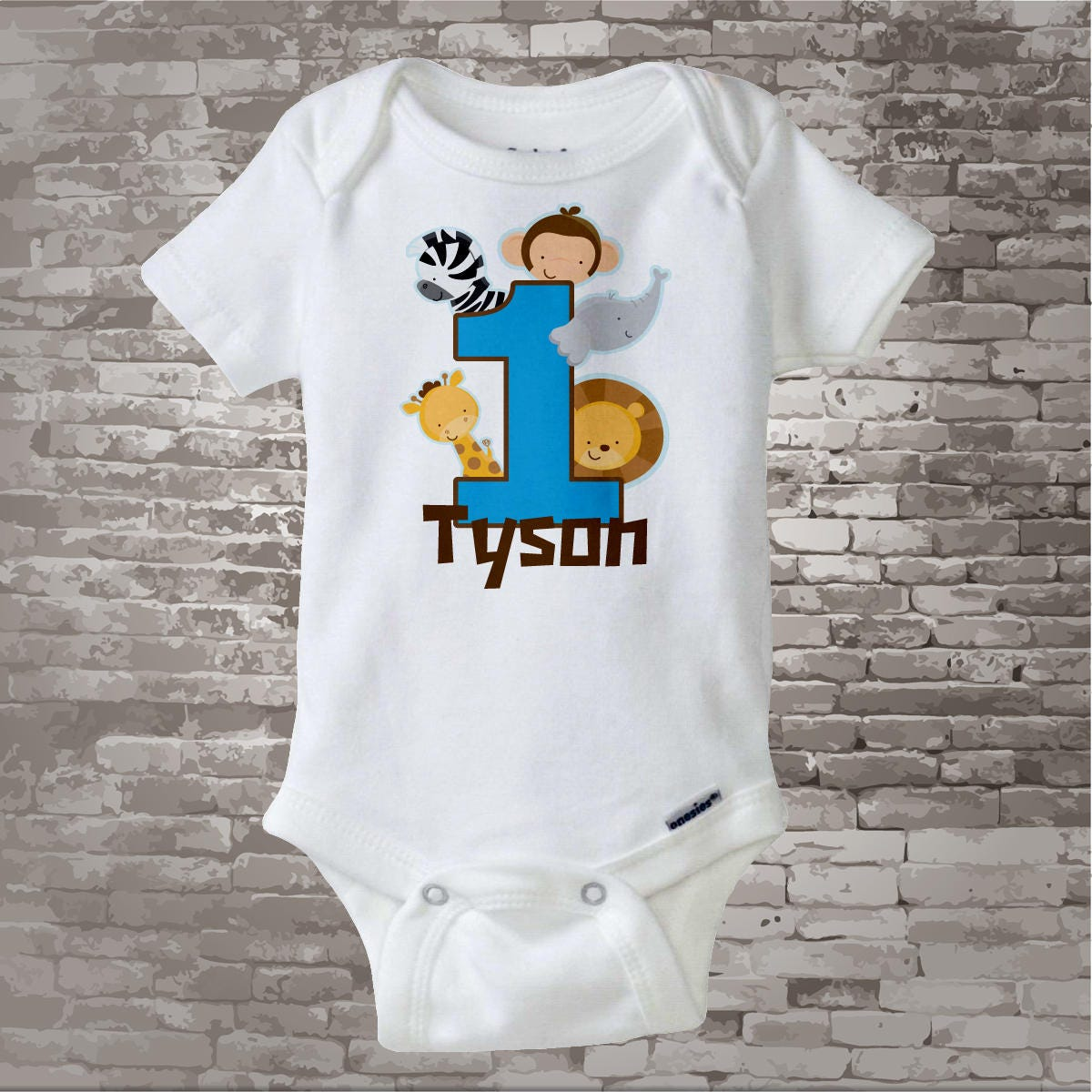 Boys One Year Old Jungle Birthday Shirt Or Onesie With Name 1st Personalized Theme 01222013a